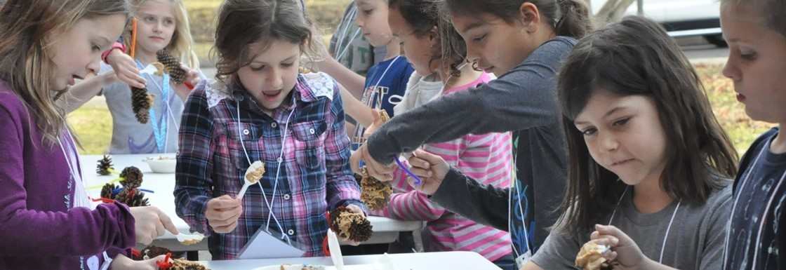 K-Kids Service Learning Club Members Make Bird Feeders at GES